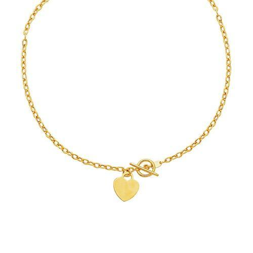 Toggle Necklace with Heart Charm in 14K Yellow Gold, size 17''-JewelryKorner-com