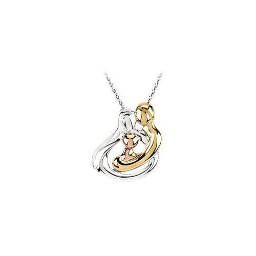 Tri-Color Sterling Silver Embraced by the Heart (1 Child ) Family Necklace - 25.25 MM X 19.5 MM-JewelryKorner-com