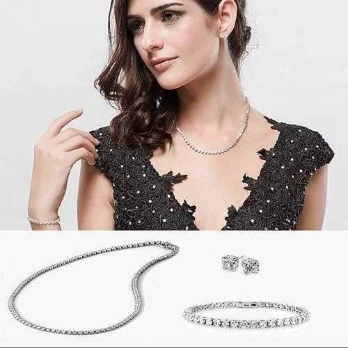 Trio Set of Dazzling Diamond Crystal Necklace Bracelet And Earrings-JewelryKorner-com