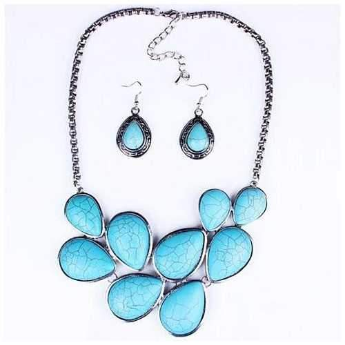 Turquoise Earth Necklace and Earrings Set-JewelryKorner-com