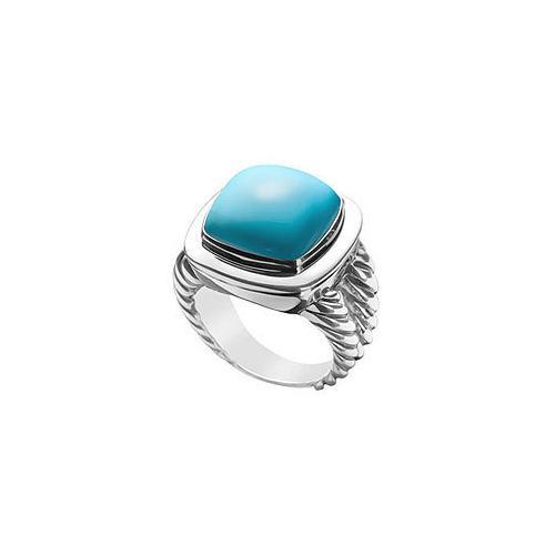 Turquoise Rope Ring : 14K White Gold - 10.00 CT TGW-JewelryKorner-com