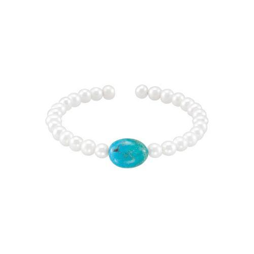 Turquoise & White Cultured Freshwater Pearl Cuff 7.5 Inch Bracelet - .925 Sterling Silver-JewelryKorner-com