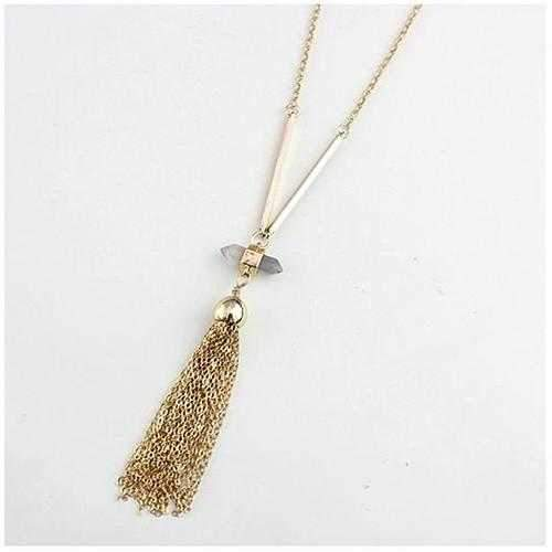 Violeta Necklace With Crystal Pendant And Trendy Tassels-JewelryKorner-com