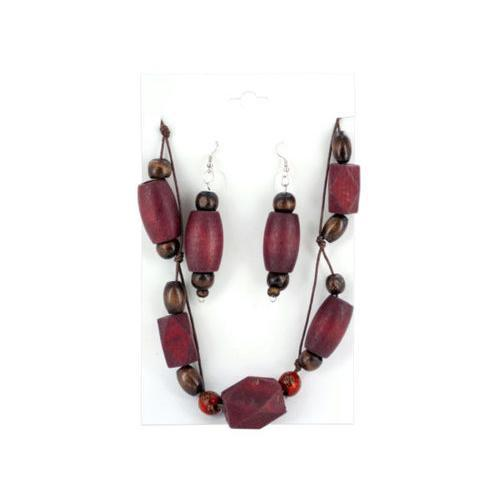 Wooden Beaded Necklace & Earrings Set ( Case of 36 )-JewelryKorner-com
