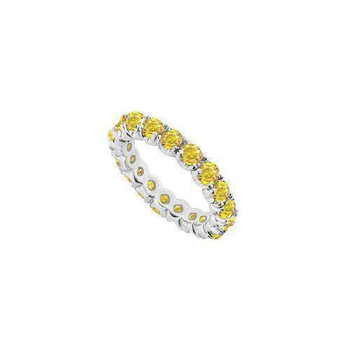 Yellow Sapphire Eternity Band : 14K White Gold - 2.00 CT TGW-JewelryKorner-com