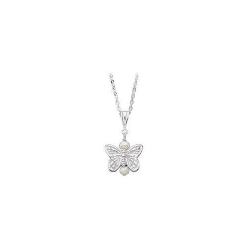 Youth Butterfly and Pearl Pendant : .925 Sterling Silver - 12.38 X 13.50 MM-JewelryKorner-com
