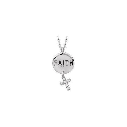 "Youth Engraved ""Faith"" with Cubic Zirconia Dangle Cross Pendant : .925 Sterling Silver - 21.98 X-JewelryKorner-com"