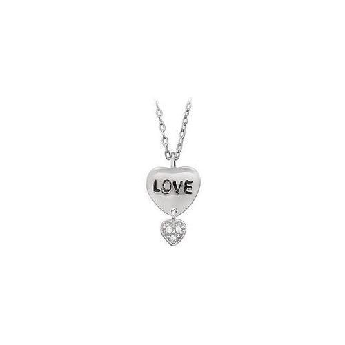 "Youth Engraved ""Love"" with Cubic Zirconia Heart Dangle Pendant : .925 Sterling Silver - 17.13X11-JewelryKorner-com"