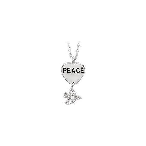 "Youth Engraved ""Peace"" with Cubic Zirconia Dove Dangle Pendant : .925 Sterling Silver - 19.26 X-JewelryKorner-com"