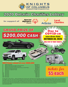 Knights of Columbus Ontario Charity Lottery Ticket