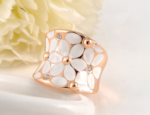 Beautiful Flower Ring with Austrian Crystal - Two Styles - Creek Jewelry