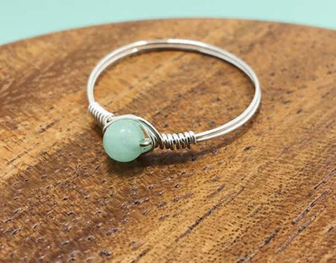 Handmade Natural Amazonite Ring in Sterling Silver - Very Unique - Creek Jewelry