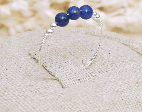 Handmade Blue Lapis Ring in Sterling Silver - Creek Jewelry