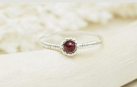 Handmade High Quality Cherry Garnet Ring in Sterling Silver - Stylish and Dainty - Creek Jewelry