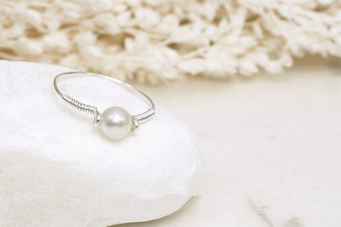 Exquisite Handmade Natural Pearl Ring in Sterling Silver - Creek Jewelry