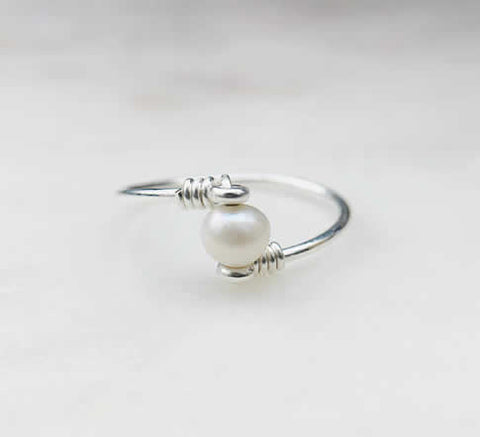 Handmade Pearl Ring in Sterling Silver - Simple Style - Creek Jewelry