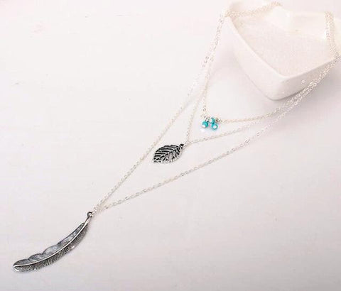 3 Layer Chain Leaf Pendant Necklaces - Simple Style - Creek Jewelry