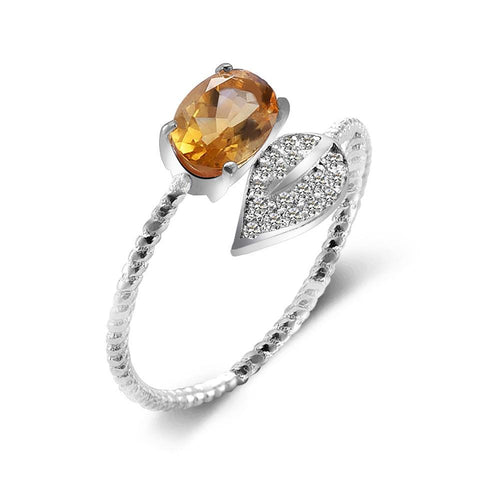 Gorgeous Adjustable Citrine Leaf Ring - 925 Sterling Silver - Creek Jewelry