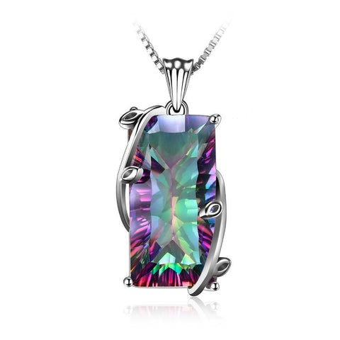 Gorgeous 16ct Natural Fire Rainbow Mystic Topaz Necklace in 925 Sterling Silver - Creek Jewelry