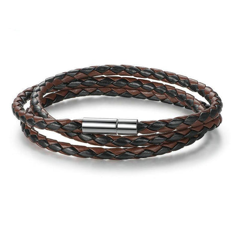 Magnetic Clasp BlackBrown Leather Bracelet - Creek Jewelry