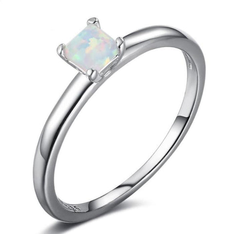 Simple and Elegant Opal Ring - 925 Sterling Silver - Creek Jewelry