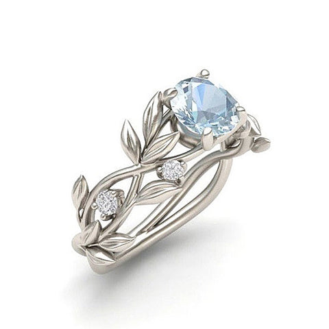 Leaf and Blue Crystal Stainless Steel Ring - Creek Jewelry