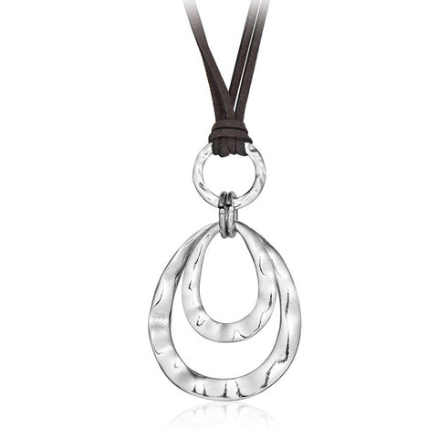 Double Silver Circle Long Leather Necklace - Creek Jewelry