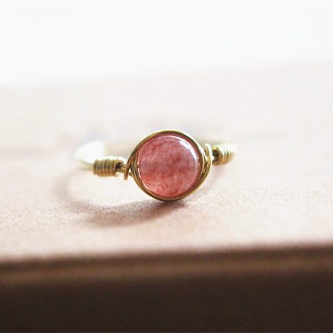 Handmade Natural Strawberry Crystal Cocktail Ring in Gold - Creek Jewelry