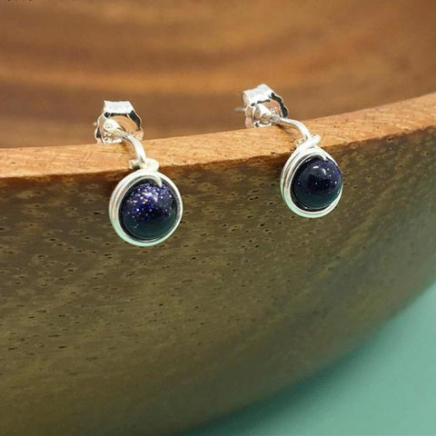 Handmade Galaxy Blue Sandstone Earrings in 925 Sterling Silver - Creek Jewelry
