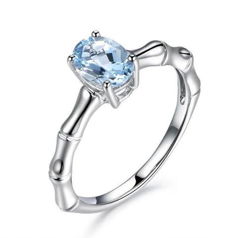 Oval Cubic Zirconia Light Blue Crystal Ring - Creek Jewelry