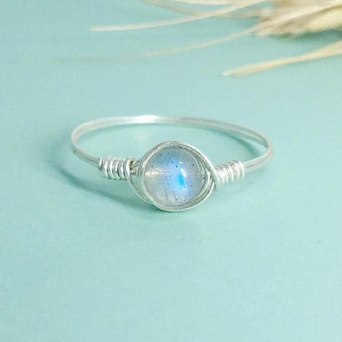 Handmade Natural Moonstone Ring in Sterling Silver - Creek Jewelry