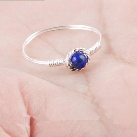 Handmade Blue Lapis Ring Sterling Silver Ring - Creek Jewelry