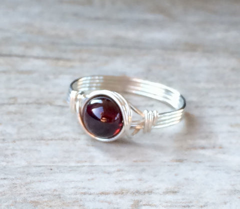 Handmade Natural Garnet Ring in Wrapped Sterling Silver - Creek Jewelry