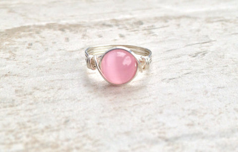 Handmade Pink Cats Eye Ring in Sterling Silver - Creek Jewelry