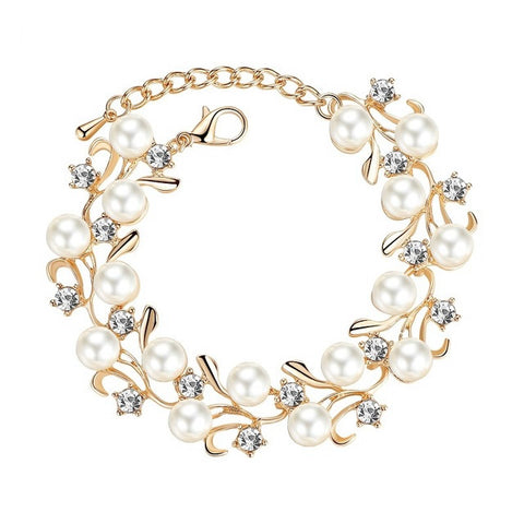 Gorgeous Round Simulated Pearl Bracelet - Silver or Gold - Perfect for Bridal Parties - Creek Jewelry