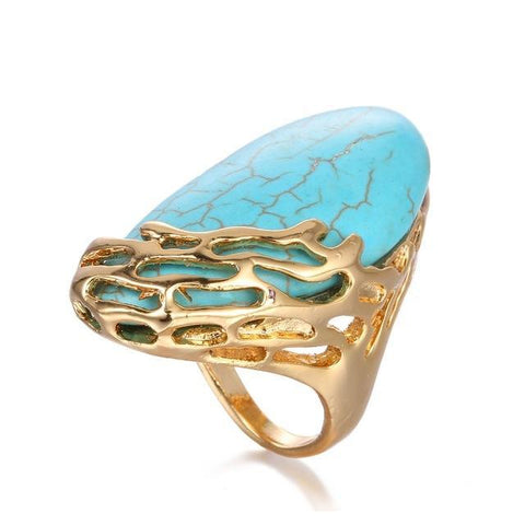 Natural Turquoise Large Statement Ring - Creek Jewelry