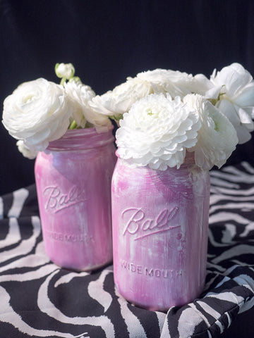 Two Pink Wide Mouth Quart Mason Jars