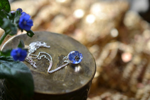 blue flower necklace with green alkanet