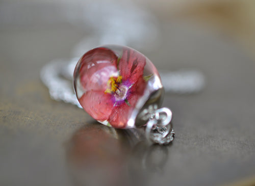 silver scarlet pimpernel necklace,  resin jewellery Ireland