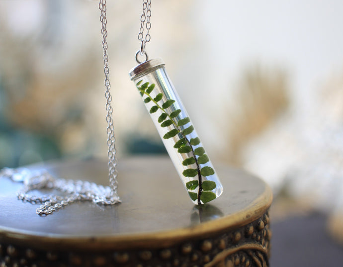 Foxy Fern necklace with eco resin and sterling silver chain, made in Ireland