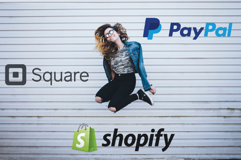 Image of a woman jumping in a good mood with the logos for Shopify PayPal and Square, this is about making a decision on How to Choose a Credit Card System