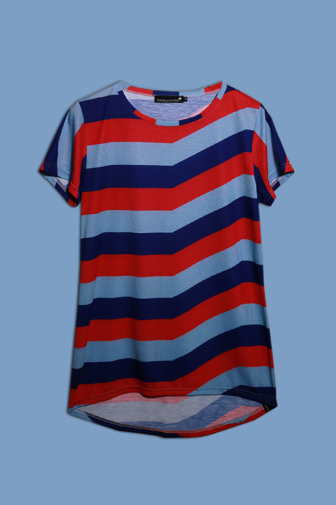 Red Striped Back Drop T-shirt