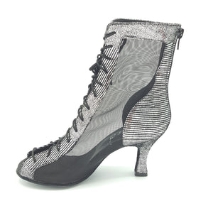 "Godiva Chic Dance Boot Silver/Black 2-1/2"" Heel"