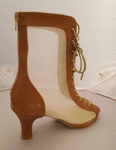 "Godiva Chic Tan Leather 1/2"" Platform Dance Boot"