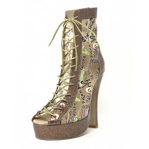 Godiva Chic Gold Sparkle Leather & ABC Mesh Platform