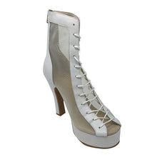 Godiva Chic Dance Boot White Leather Platform