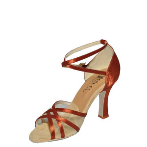 "Jizel Mesh Flexi 3"" Heel Dark Tan Satin Single Sole SPECIAL LIMITED OFFER"