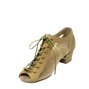 "Lady Godiva Open Toe TAUPE Stretch Fabric Flexi 1-1/2"" Cuban Heel"