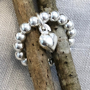 Silver beads with heart
