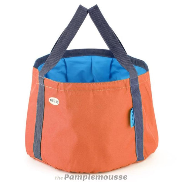 10L Portable Outdoor Camp Dish Washing Bag Ultra-Light Camping Hiking Unfolding Wash Basin Bucket Travel Bag - Orange - Free Shipping -